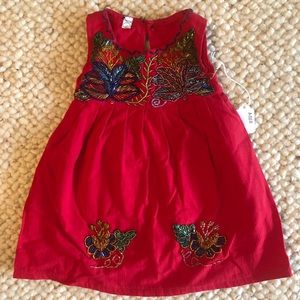 Other - Girls Strawberry Red Hand Beaded Dress